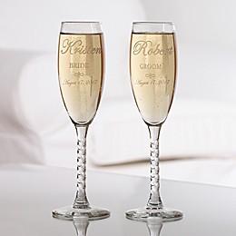 Wedding Couple Champagne Flutes (Set of 2)