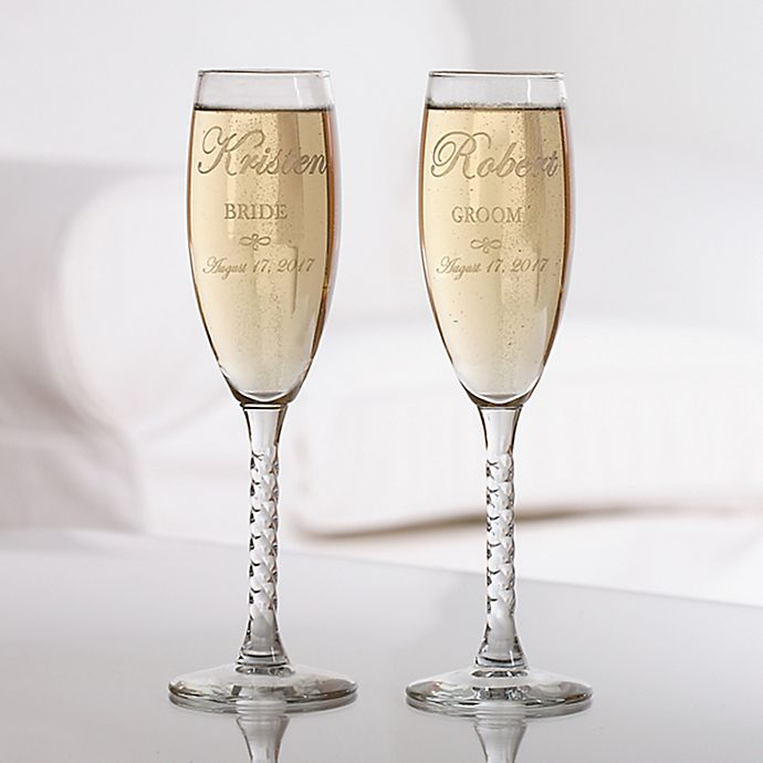Wedding Couple Champagne Flutes Set Of 2 Bed Bath Amp Beyond