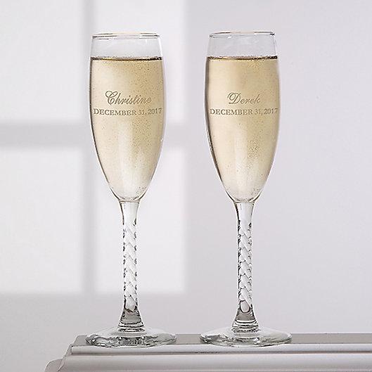 Alternate image 1 for Loving Couple Champagne Flutes (Set of 2)