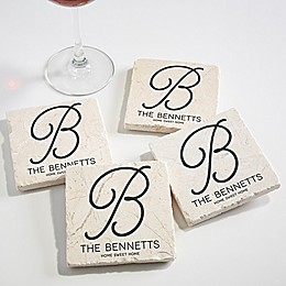 Initial Accent Tumbled Stone Coasters (Set of 4)