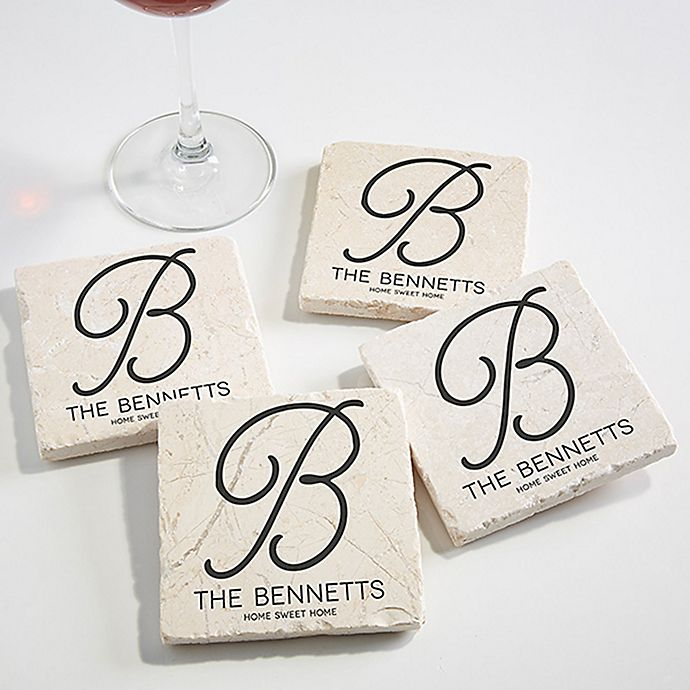 Alternate image 1 for Initial Accent Tumbled Stone Coasters (Set of 4)