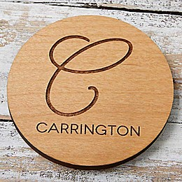 Initial Accent Engraved Wood Coaster