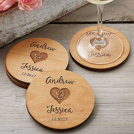 Alternate image 1 for Rustic Wedding Party Favor Coaster