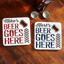 Beer Goes Here Bottle Opener Coaster