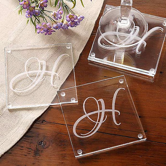 Alternate image 1 for Initial Impressions Glass Coasters (Set of 4)