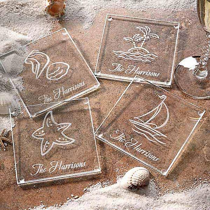 Alternate image 1 for Seashore Glass Coasters (Set of 4)
