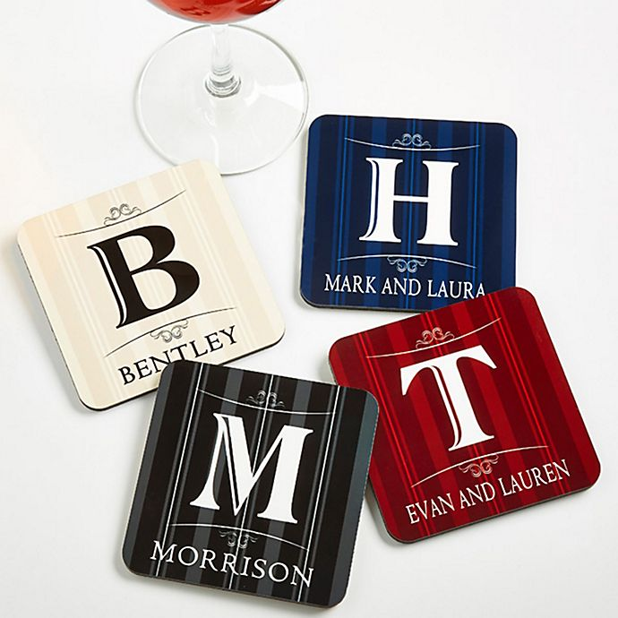 Alternate image 1 for Elegant Monogram Coasters