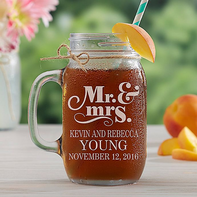 Alternate image 1 for The Happy Couple Etched Glass Mason Jar
