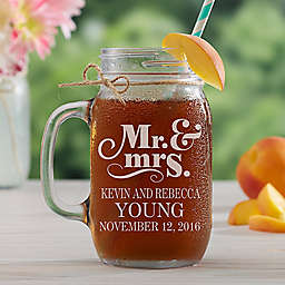The Happy Couple Etched Glass Mason Jar