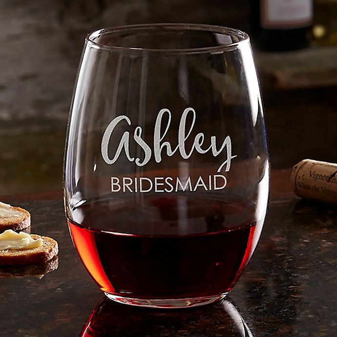 Alternate image 1 for Bridal Party 21 oz. Stemless Wine Glass