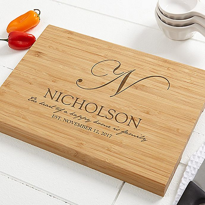 Heart of Our Home 10-Inch x 14-Inch Personalized Bamboo Cutting Board