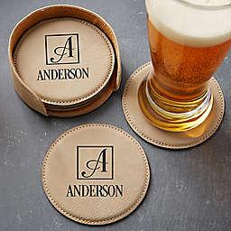 Square Monogram 5-Piece Leatherette Coaster Set in Tan