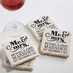 The Happy Couple Personalized Tumbled Stone Coaster Set of 4