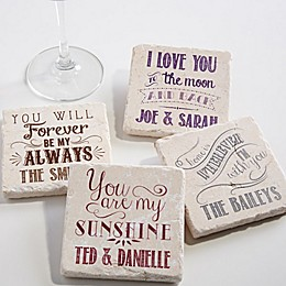 Love Quotes Tumbled Stone Coasters (Set of 4)