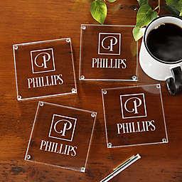 Square Monogram Glass Coasters (Set of 4)