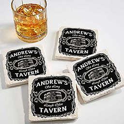 Whiskey Label Tumbled Stone Coasters (Set of 4)