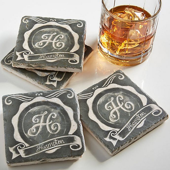 Chalkboard Tumbled Stone Coasters Set Of 4 Bed Bath