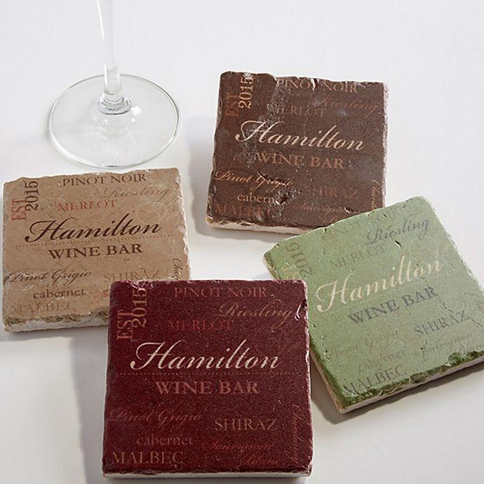 Alternate image 1 for Wine Please Tumbled Stone Coasters (Set of 4)