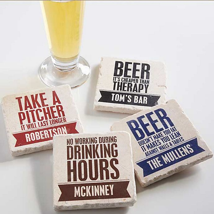 Alternate image 1 for Beer Quotes Tumbled Stone Coasters (Set of 4)