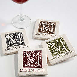 Floral Monogram Tumbled Stone Coasters (Set of 4)