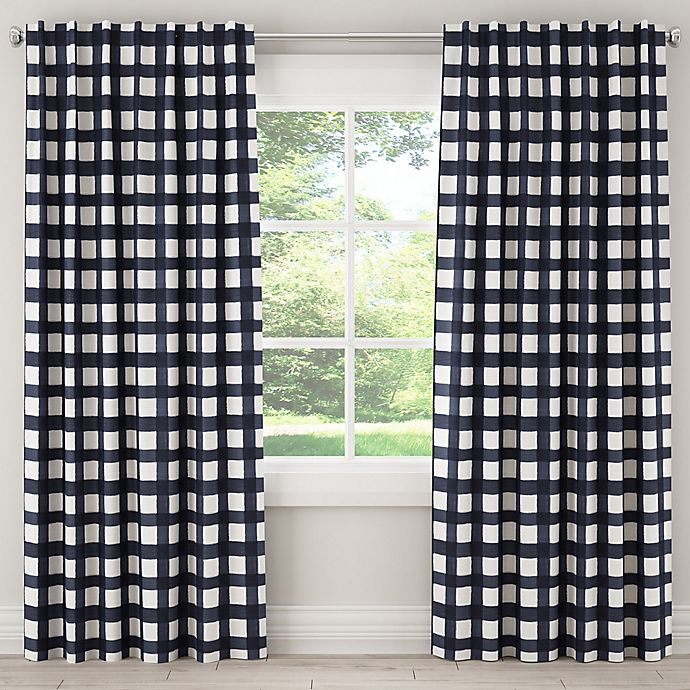 Alternate image 1 for Skyline Furniture Buffalo Square 63-Inch Rod Pocket/Back Tab Window Curtain Panel in Blue