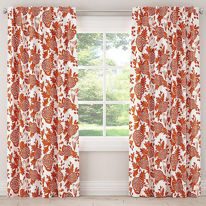 Alternate image 1 for Skyline Furniture Skyline Garden Bird 84-Inch Rod Pocket/Back Tab Window Curtain Panel in Orange