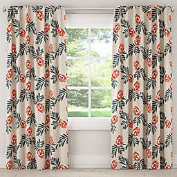 Skyline Mod Floral Rod Pocket/Back Tab Window Curtain Panel