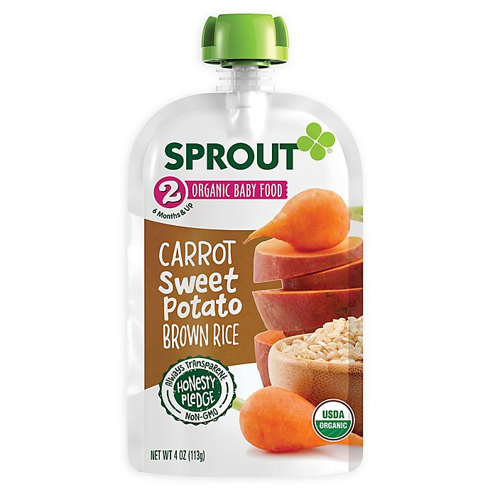 Alternate image 1 for Sprout® 4-Ounce Stage 2 Organic Baby Food in Carrot, Sweet Potato and Brown Rice