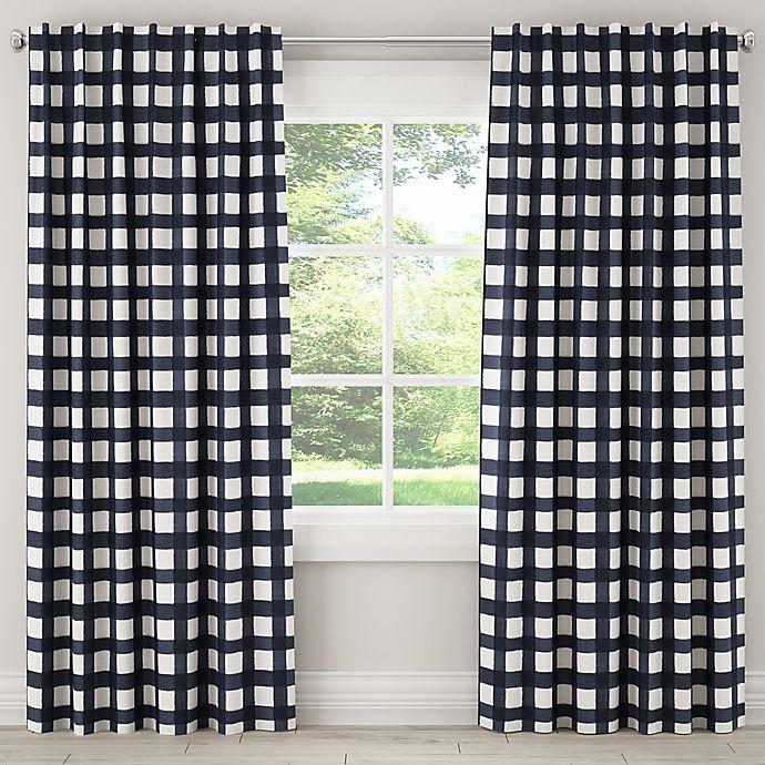 Alternate image 1 for Skyline Furniture Buffalo Square 84-Inch Rod Pocket Room Darkening Window Curtain Panel in Blue