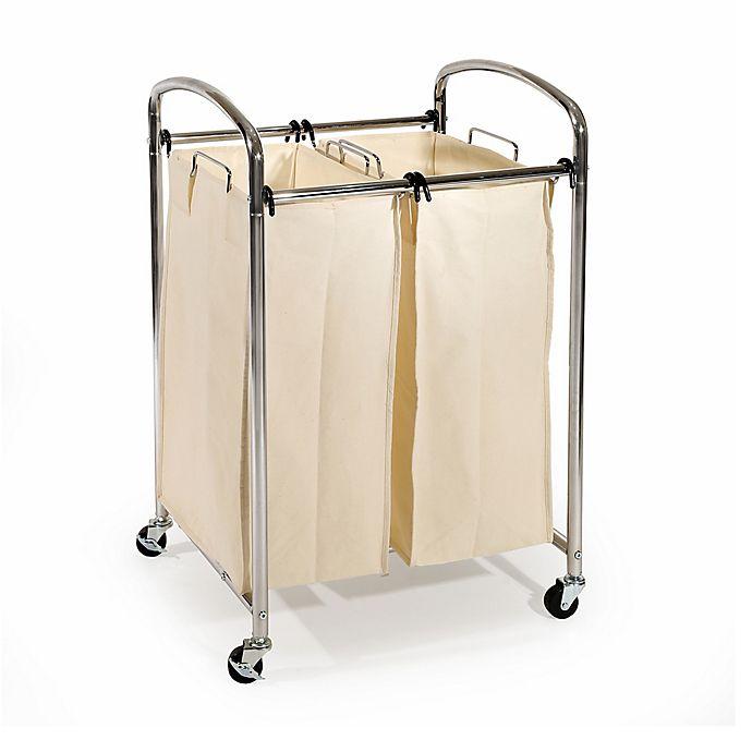 Classics 3-Bag Laundry Sorter Hamper Cart with Hanging Bar Washable Bags Adjust