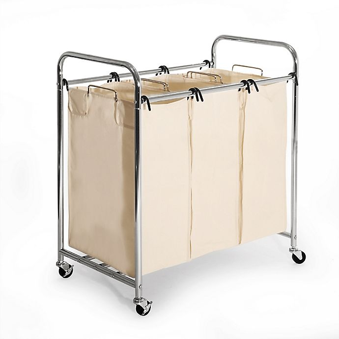 Seville Clics 3 Bag Heavy Duty Laundry Sorter Hamper Cart In Chrome