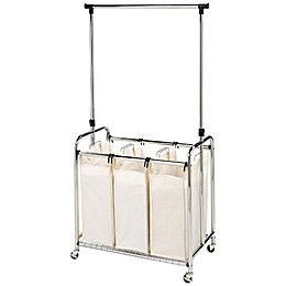 Seville Classics 3-Bag Laundry Sorter Hamper Cart with Hanging Bar in Natural