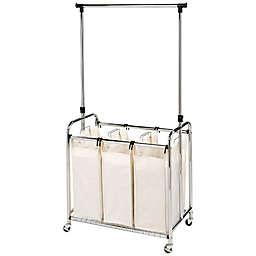 Seville Clics 3 Bag Laundry Sorter Hamper Cart With Hanging Bar In Natural