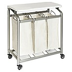 Seville Classics 3-Bag Laundry Sorter Hamper Cart with Folding Table in Natural