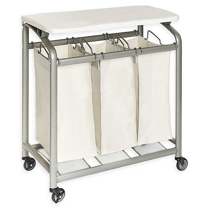 Alternate image 1 for Seville Classics 3-Bag Laundry Sorter Hamper Cart with Folding Table in Natural