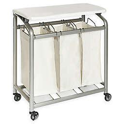Seville Clics 3 Bag Laundry Sorter Hamper Cart With Folding Table In Natural