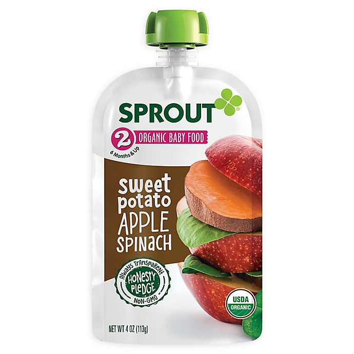 Alternate image 1 for Sprout® 4 oz. Stage 2 Organic Baby Food in Sweet Potato, Apple, Grape and Spinach