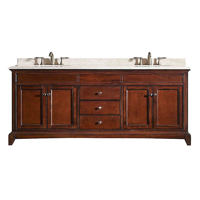Alternate image 1 for Eviva Elite Stamford® 72-Inch Double Bathroom Vanity in Brown/Cream