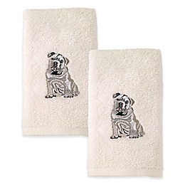 Avanti Bulldog Hand Towels in Ivory (Set of 2)
