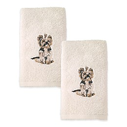 Avanti Yorkshire Terrier Hand Towels in Ivory (Set of 2)