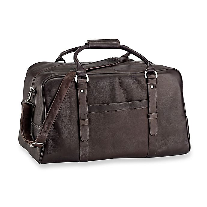 Alternate image 1 for Piel® Leather Classic 19-Inch Large Top-Zip Duffle Bag in Chocolate