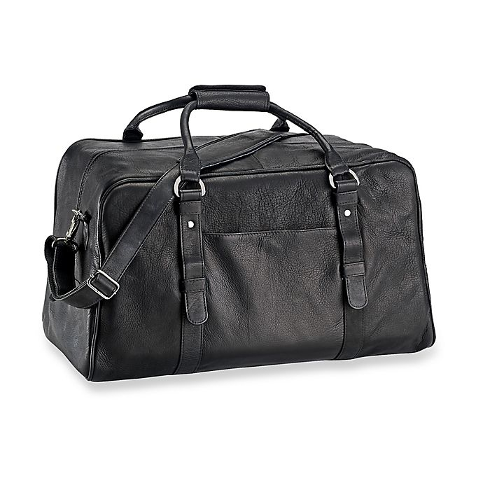 Alternate image 1 for Piel® Leather Classic 19-Inch Large Top-Zip Duffle Bag in Black