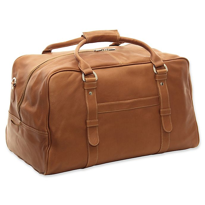 Alternate image 1 for Piel® Leather Classic 19-Inch Large Top-Zip Duffle Bag in Saddle