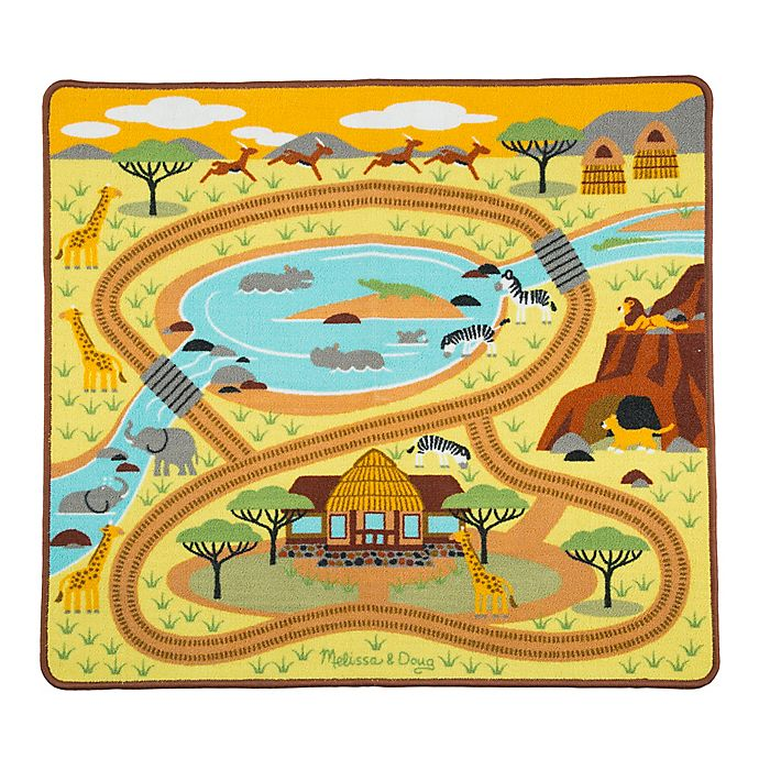 Alternate image 1 for Melissa & Doug® Round the Savanna Safari Play Rug