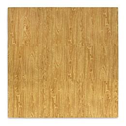 Tadpoles Plush 9-Piece Play Mat in Wood Grain