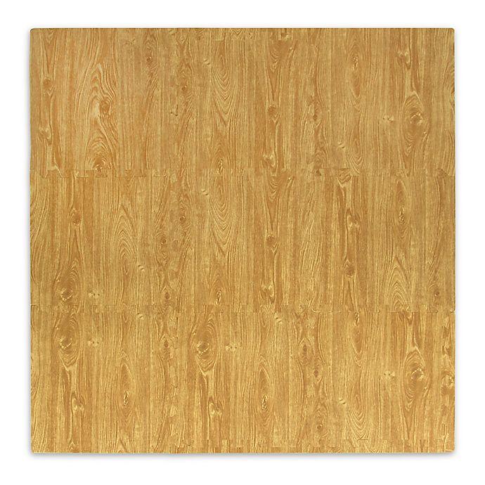 Alternate image 1 for Tadpoles Plush 9-Piece Play Mat in Wood Grain