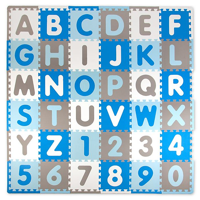 Alternate image 1 for Tadpoles ABC 60-Piece Play Mat in Blue/Grey