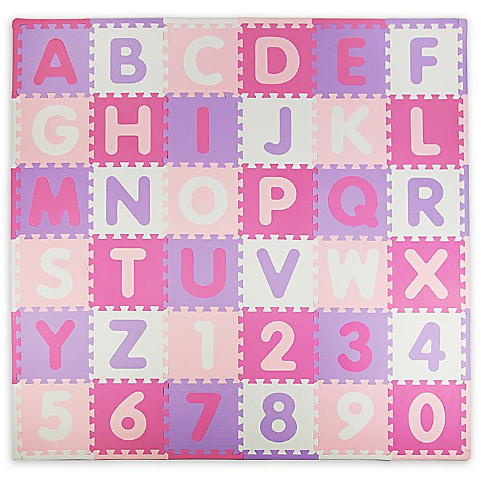 Alternate image 1 for Tadpoles ABC 60-Piece Play Mat in Pink/Purple