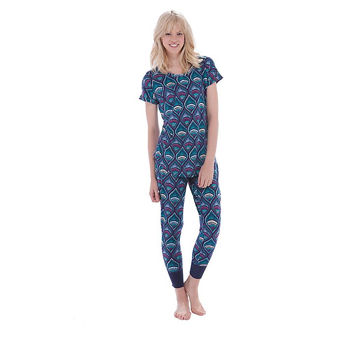 Alternate image 1 for Egyptian Lily X-Small 2-Piece Short Sleeve T-Shirt and Jogger Lounge Pant Set in Navy