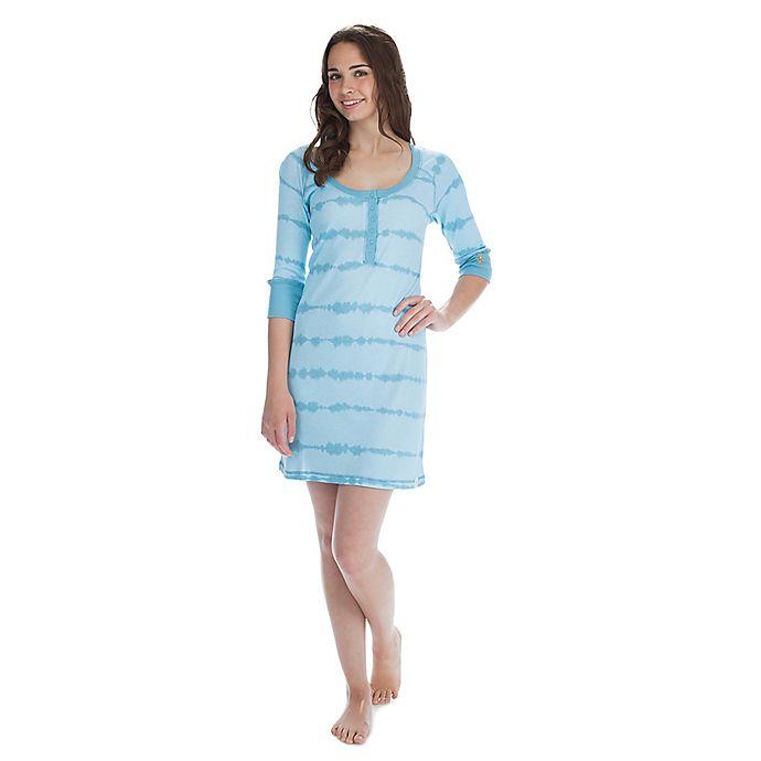 Alternate image 1 for Medium Women's Tie Dye Stripes Rib Half Sleeve Henley Nightshirt in Aqua